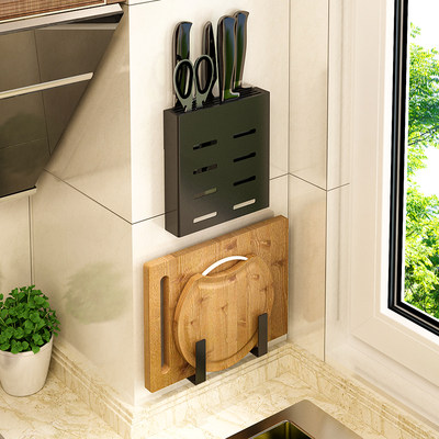 Kitchenware perforation-free stainless steel knife holder rack household multifunctional kitchen knife knife storage rack wall-mounted