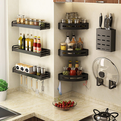 Kitchen perforation-free triangle rack wall-mounted corner hanging basket storage rack wall seasoning kitchenware hanging rack