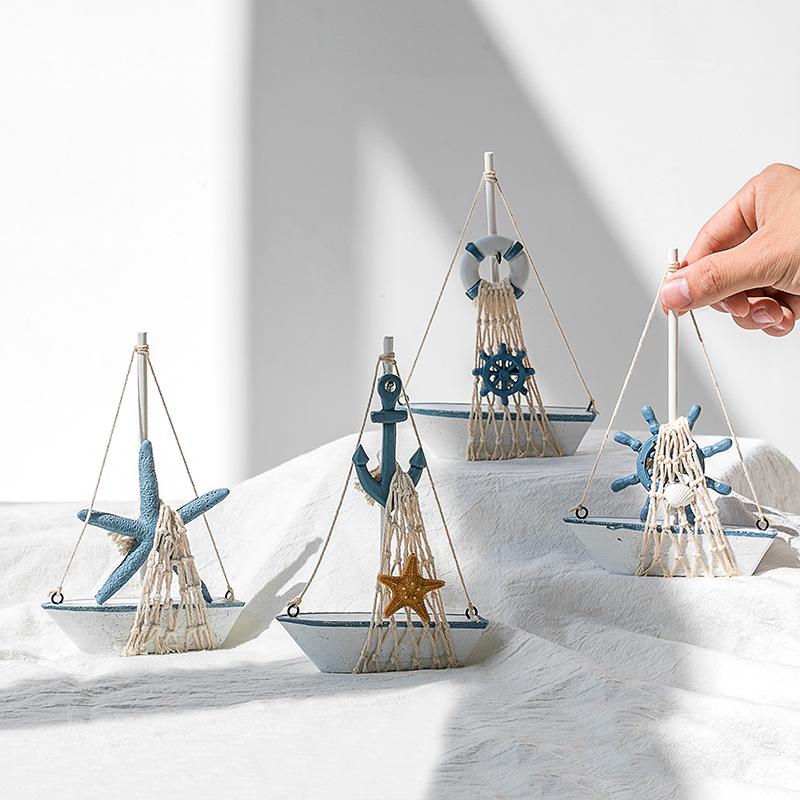 地中海帆船模型一帆风顺船创意桌面摆件摆设木质小木船装饰工艺品