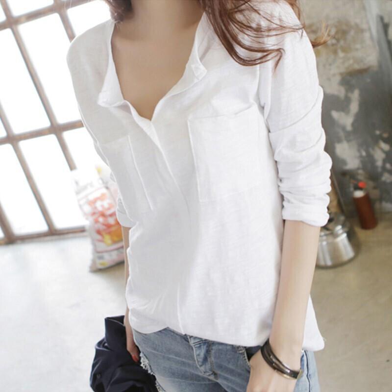 韩版初秋装新款竹节棉长袖t恤女v领大码宽松白色纯棉打底衫上衣春