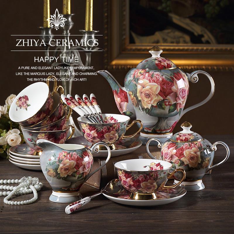 Hoa hồng cổ điển Châu Âu Bone Bộ trà Trung Quốc Bộ cà phê Bộ tiếng Anh Mục vụ trà chiều Trà cốc Bộ tách cà phê - Cà phê