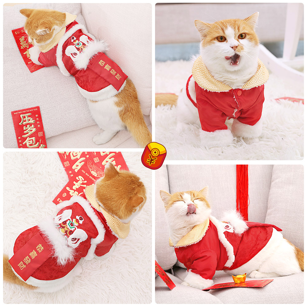 Pet cat clothes wrapper lion dance cute cat new year Tang dress New Year kitten New Year celebration winter winter