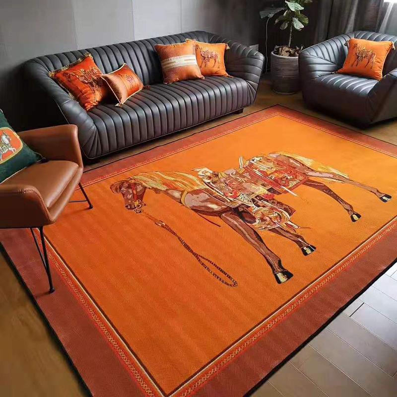 橙色大马地毯欧式美式客厅进门垫脚垫卧室床边加厚印花绒面地垫
