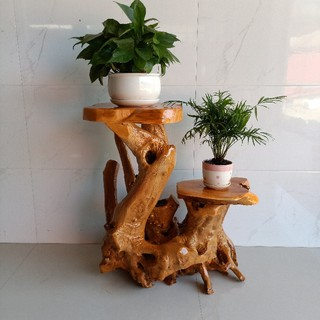 Root carving flower stand tree root natural ornaments solid wood log living room multi-layer bonsai fish tank base green radish balcony special offer