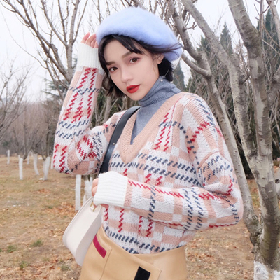 Autumn and winter womens Korean high collar collar fake two loose hedging plaid sweater long-sleeved sweater shirt students