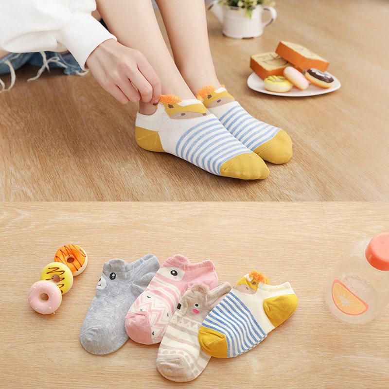8e3e793ef Socks female autumn Japanese Korean version of the cartoon ears cotton lady  socks socks shallow mouth Korean cute invisible socks