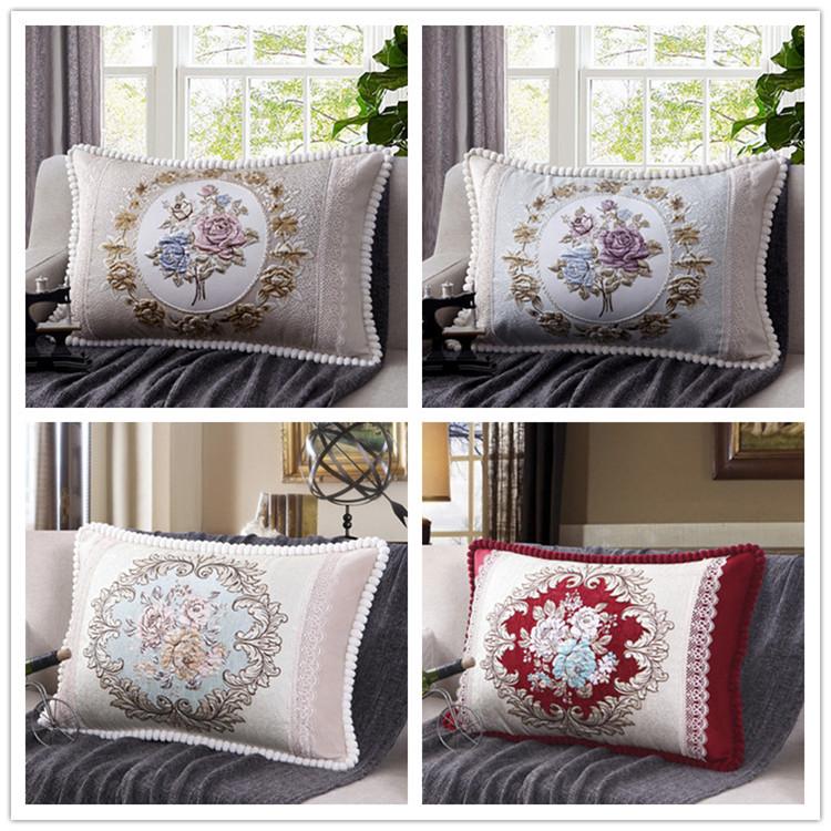 欧式沙发靠垫客厅靠枕北欧长方形抱枕床头护腰靠垫大号抱枕套拆洗详细照片