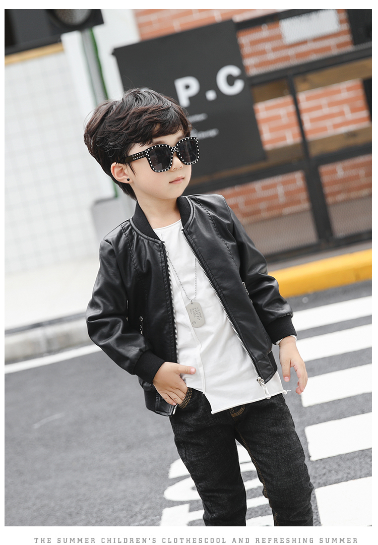 350782eb4 Baby leather spring and autumn tide new boy motorcycle leather ...