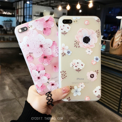 Embossed small fresh flowers iphone7 Mobile Shell Apple 6/6s All Inclusive Silicone Cover 6plus Women Soft 8X