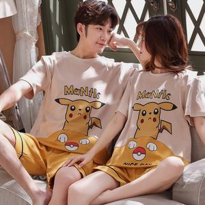 情侣睡衣男士女两件套夏天可外穿纯色