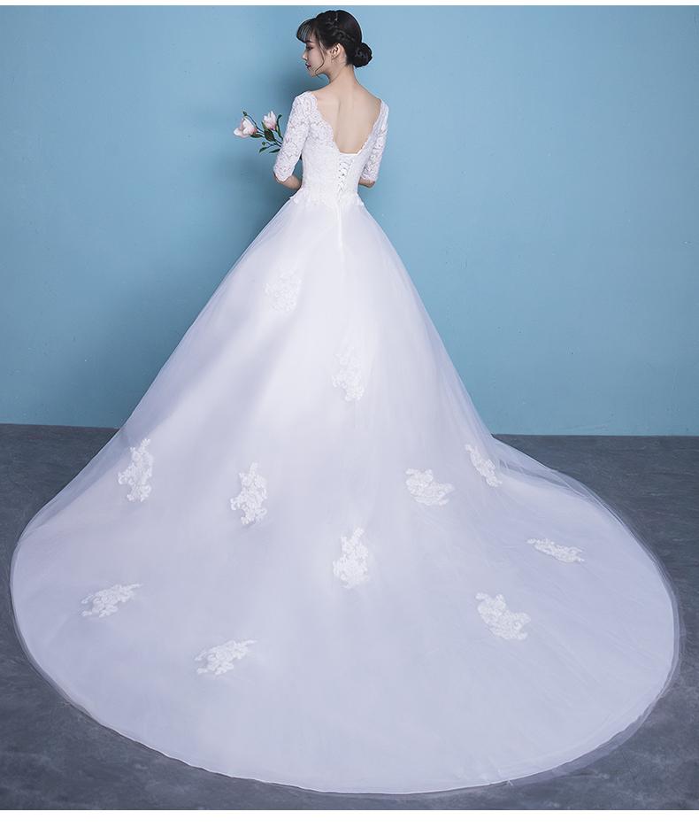 高仿蒙口Moncler一字肩婚纱礼服2017新款公主婚纱LJH277 第5张
