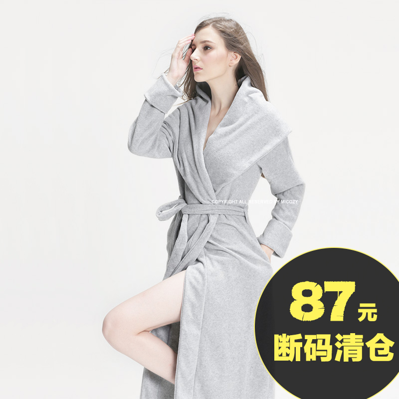 Nordic autumn and winter sexy thickening pajamas nightgown men s ladies  couple models plus long hotel bathrobes 99df3a15f7b1