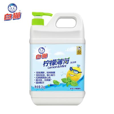 【白猫】薄荷大桶家用洗洁精2KG