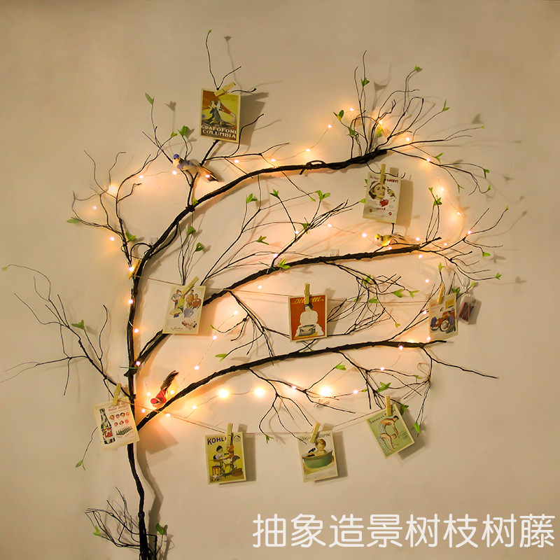 Simulation Tree Vine Rattan Fake Branches Dry Leaves Interior Decorative Plants Wall Hanging Background Landscaping Led Lights