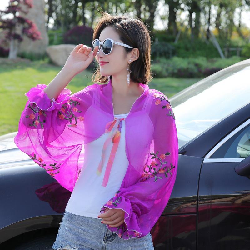 开车骑车丝巾女防晒衣夏季韩版围巾沙滩户外v丝巾防晒防紫外线披肩