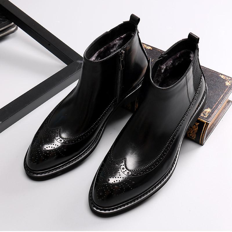 冬季加绒高帮皮鞋男真皮布洛克男鞋雕花潮流棉鞋男商务中帮马丁靴