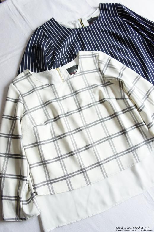 日单 格子开衫外套 衬衫雪纺衫