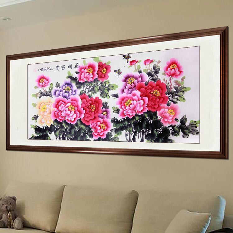 Living Room Painting and Calligraphy Chinese painting Peony Flowers ...