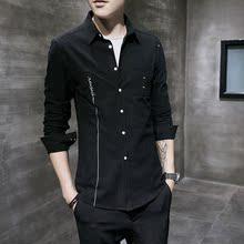 男士长袖纯棉衬衫商务修身休闲职业衬衣