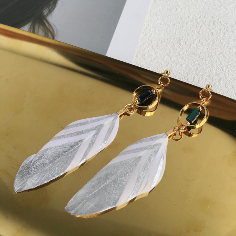旧羽毛耳环个性耳饰品简约长款耳钉