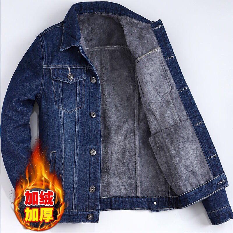 加绒冬新款男韩版休闲男款牛仔褂外套修身长袖夹克男上衣服潮百搭