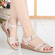 Mid-heeled mother sandals leather flat 2018 summer new soft bottom comfortable non-slip middle-aged women's shoes large size