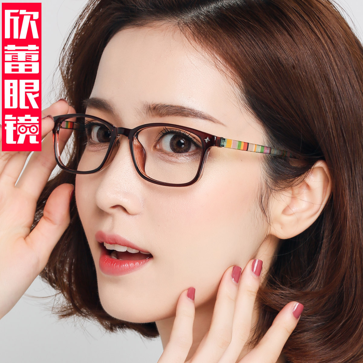 0ec3ef56ce0 Finished myopia glasses female round face anti-blue glasses flat mirror can  be equipped with color Korea glasses frame to send the lens tide