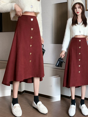 taobao agent Autumn Korean style single-breasted over-the-knee mid-length skirt temperament loose and thin high-waist all-match skirt female 2021 new