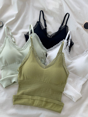 taobao agent With a small sling and a vest, women's autumn 2021 new fashion and leisure all-match bottoming shirt top with chest pad