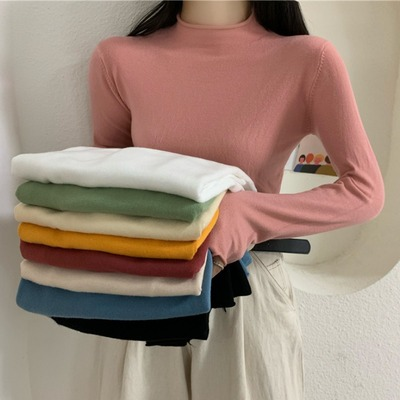 taobao agent Autumn 2021 new net red solid color half high neck bottoming shirt top Korean version of the slim all-match long-sleeved sweater women