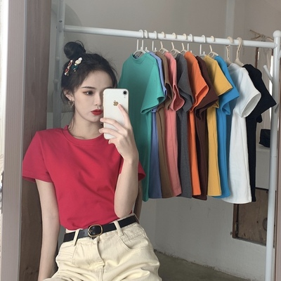 taobao agent Winter and autumn 2021 new Korean version of the small basic solid color short-sleeved T-shirt female chic net red foreign style brushed top