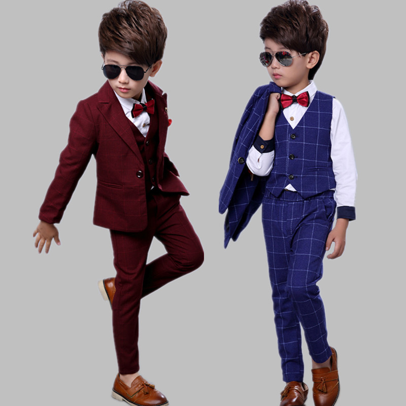 6a68c2935 6 boys small Suit Suit thickened winter clothing 3-year-old children's  plaid suit three-piece suit plus velvet 8 flower girl wedding dress 5