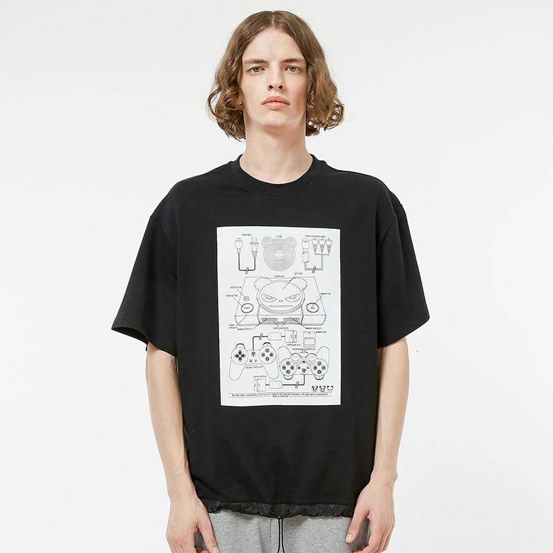 Hi Panda男熊猫游戏拼接T恤