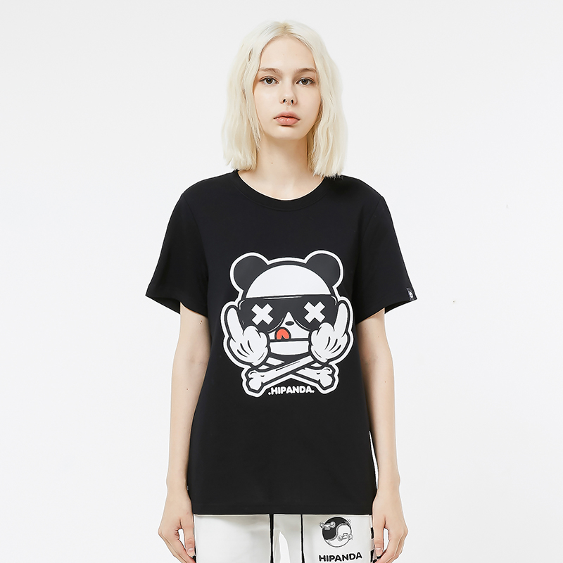 HIPANDA 你好熊猫 女款  熊猫竖中指印花T恤