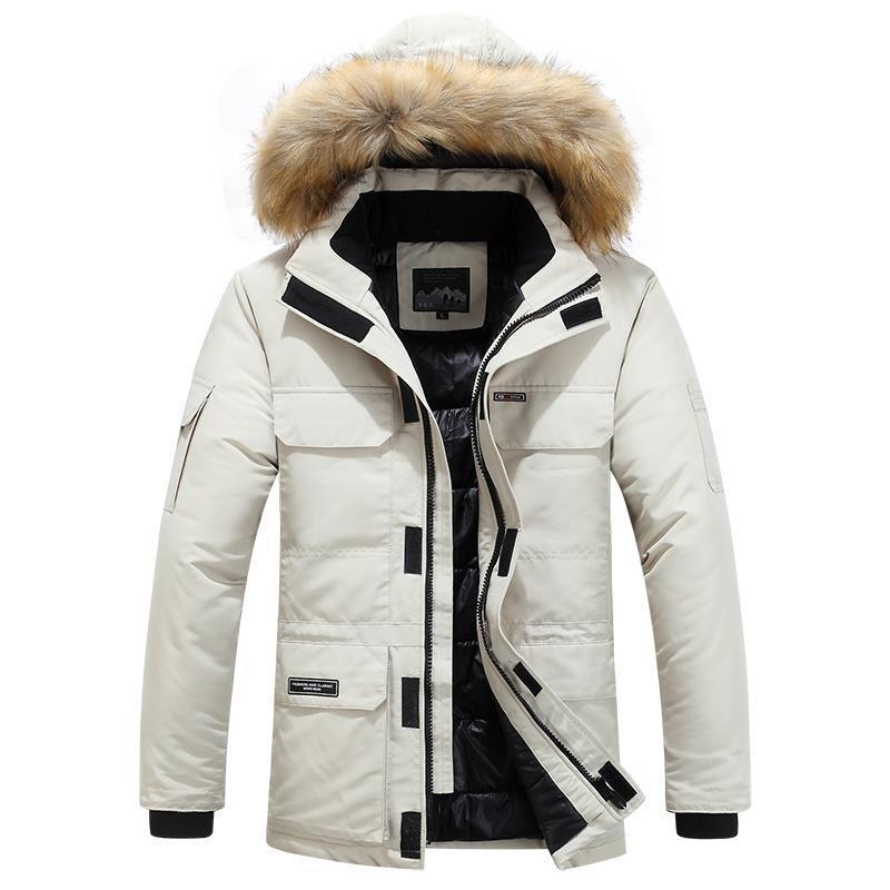 v外套新款2019外套男式毛领大码棉衣冬季青年棉服连帽商务一件代发