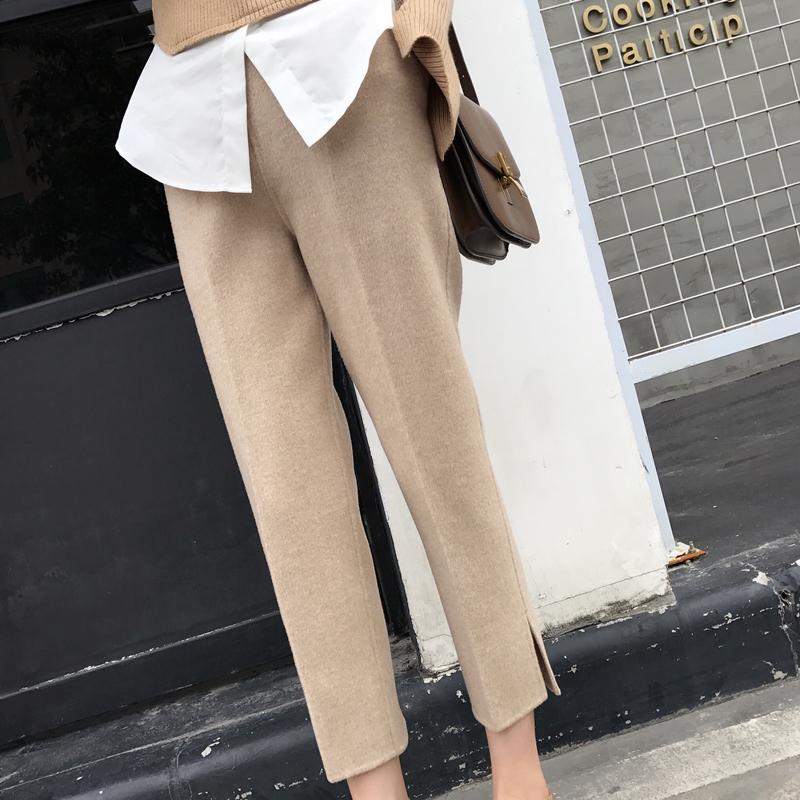 安娜家长裤新款简约好版型冬装双面西装羊毛高腰九分西裤呢子女休