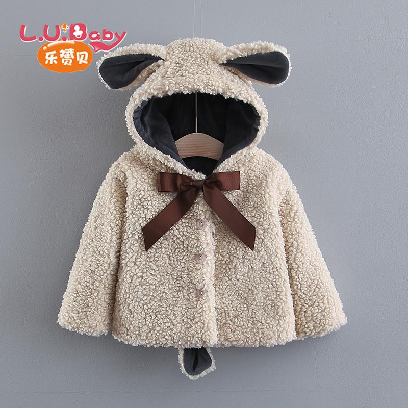女童羊羔毛洋气外套2019新款韩版儿童秋冬加厚棉衣宝宝保暖大衣