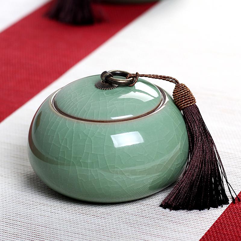 Дракон весна цвет морской волны большой двор чай склад коробка магазин депозит бак керамика чайный сервиз портативный генерал Er чай печать бак большой размер наряд чайница