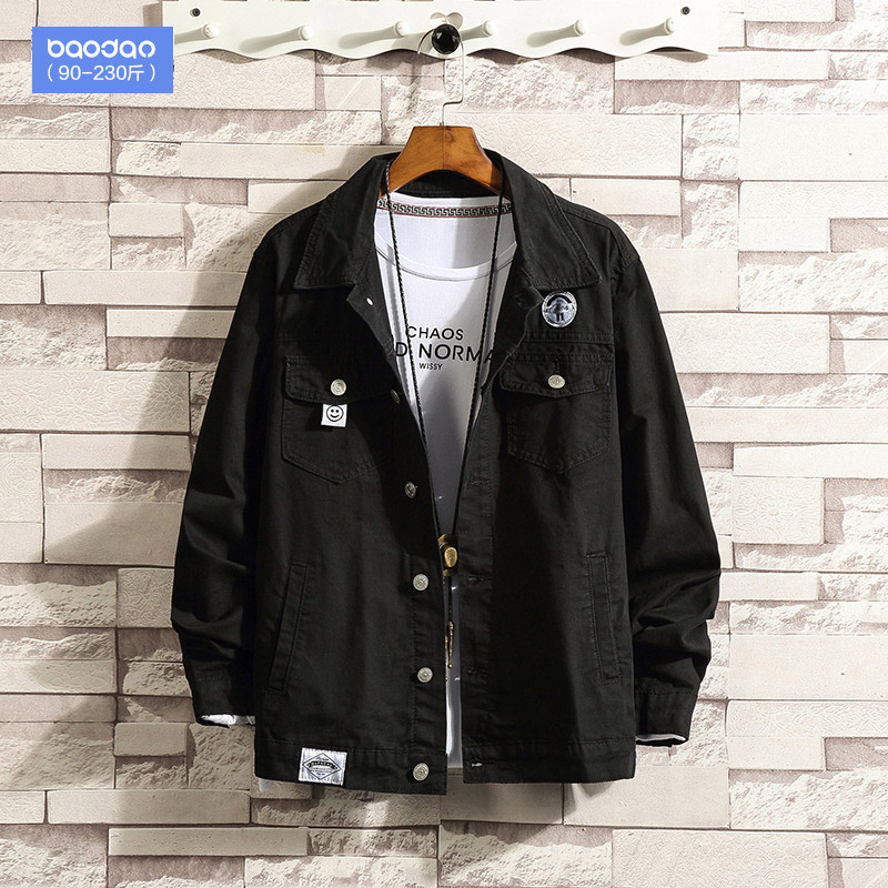 Spring and autumn men's workwear Korean version of the trend jacket fat loose casual 100 clothes big size denim jacket