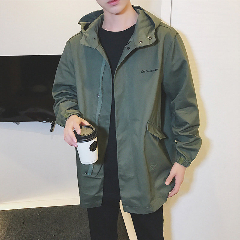 Spring and autumn fat workwear windbreaker men's mid-length coat Korean version of the tide students leisure fattening plus code spring dress