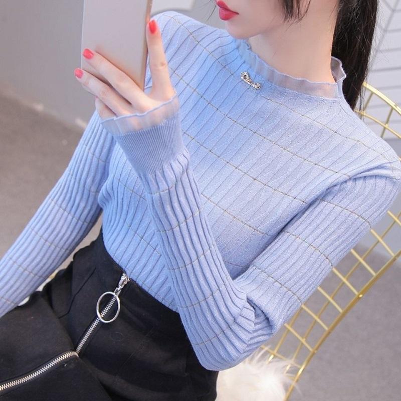 2020秋冬新款打底衫女�长袖气质百搭修身毛衣�L针织衫半高领保暖加绒