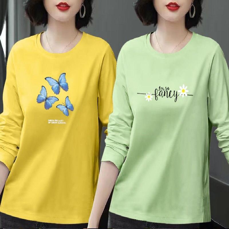 单/两件装纯棉长袖T恤女秋季新款大码女装韩版宽松半袖打底衫上衣