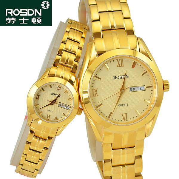 Laoston quartz watch gold-plated watch men's watch gold watch waterproof couple table optional female watch 3088