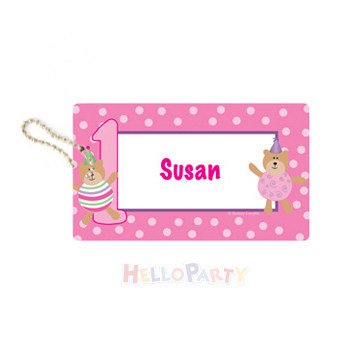 Bag hanging decoration name anti loss Party Gift 1-year-old bear and mother pink luggage tag