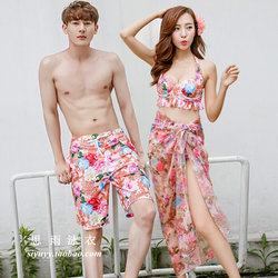Korean swimsuit, small breasts gathered, split to cover belly, thin beach pants, couple three-piece hot spring bikini swimsuit women