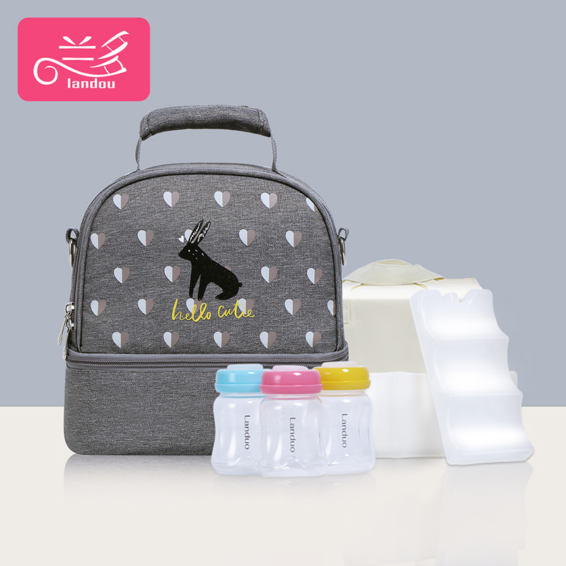 Elegant Gray [single Bag + Liner Bag + 2 Pieces Of Blue Ice + 3 Pp Milk Cans]