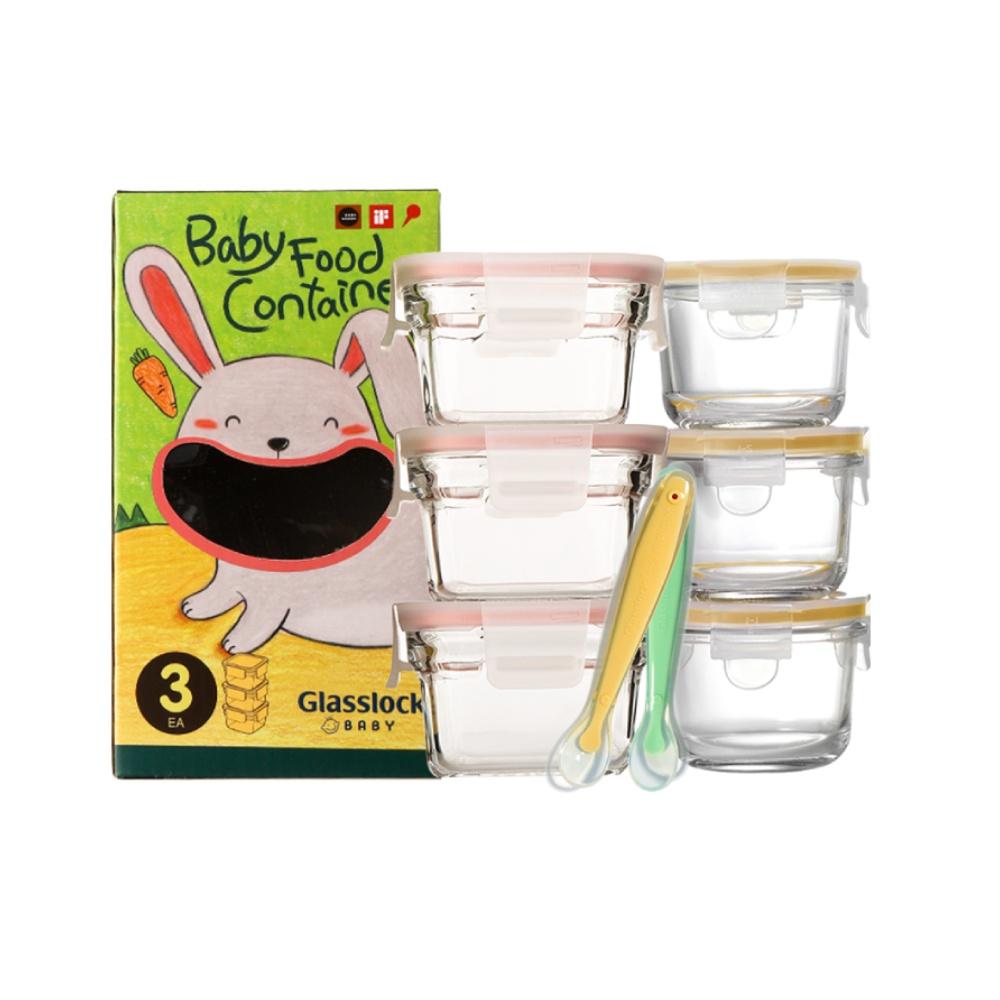 Glasslock原装进口婴幼儿玻璃辅食盒微波炉烤箱可用3件套送辅食勺