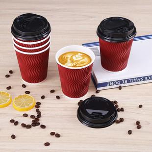【猫超拍2件】一次性双层带盖咖啡杯24个