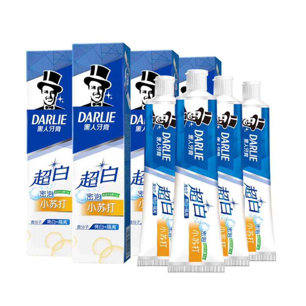 【黑人】超白密泡小苏打牙膏140g*4支