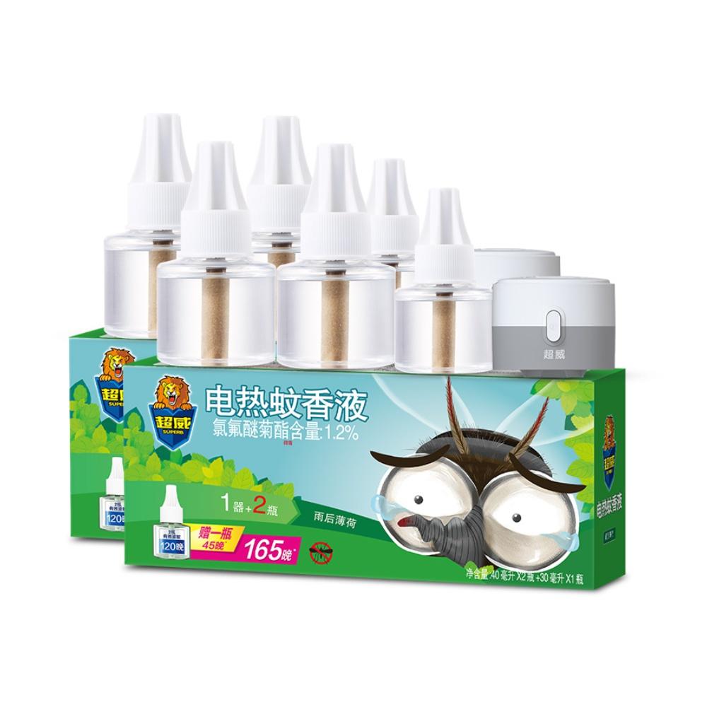 超威雨后薄荷驱蚊电蚊香液6瓶2器
